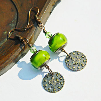 Green bohemian lampwork earrings with Turkish coin Green Boho dangles Green lampwork earrings Oriental earrings Handmade Glass bead earrings