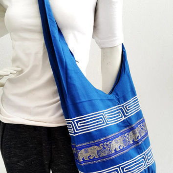 Free shipping elephant bags blue pattern yoga Boho bag Shoulder bag Sling bag Messenger bag Tote bag Crossbody bag Purse