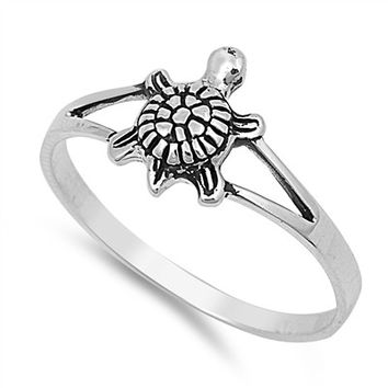925 Sterling Silver Solitaire Sea Turtle Honu Ring