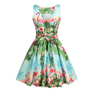 Floral printed rockabilly dresses Women's vintage retro bowknot dress 50s Hepburn party tunic swing dress 3XL plus size vestidos