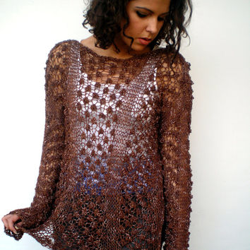 Chocolate Brown Lace Sweater Trendy mixed Cotton Hand Knit Woman Sweater NEW