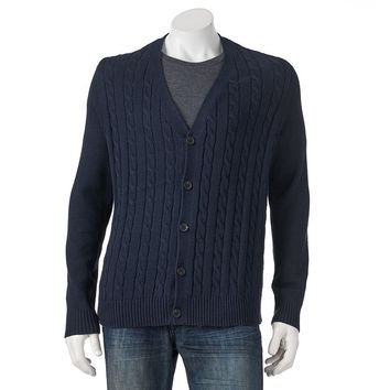 Croft & Barrow Classic-Fit Solid 7gg Cable-Knit Cardigan