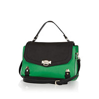 Green colour block structured satchel - satchels - bags / purses - women