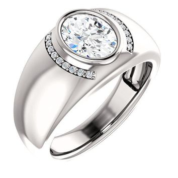 Matthew 9x7mm Oval Moissanite Bezel Diamond Channel Ring