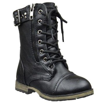 DCK7YE Kids Mid Calf Boots Buckle Accent Lace Up Combat Boots Black