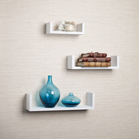Danya B Floating 'U' Laminated White Shelves (Set of 3)