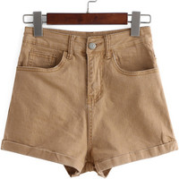Khaki High Waisted Flange Denim Shorts