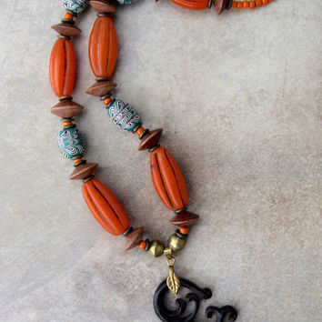 Lyme Sale Carved Wood Branch Pendant Necklace Indonesian Carving w Orange and Green Glass Beads Ethnic Boho Jewelry