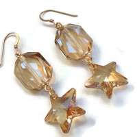 "Swarovski Earrings - Crystal Golden Shadow in Gold - French Wire Hooks - 2.5"" - Star Earrings - EAR114"