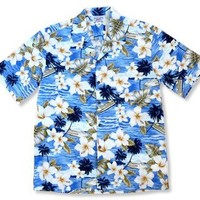 cruise blue hawaiian cotton shirt