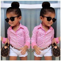 Girls Trendy Shirt + Shorts Outfit 2pc Pink