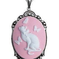 Pink White Kitten Butterfly Cameo Necklace