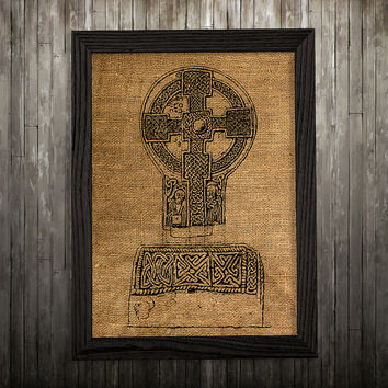 Celtic cross art Burlap print Symbol print Celtic poster BLP608