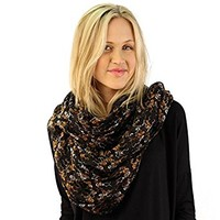 Halloween Dancing Skeleton Bones Light Loop Circle Infinity Scarf Wrap Black