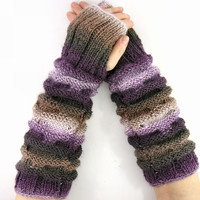 long knit fingerless gloves knit arm warmers knit fingerless mittens purple brown ombre ribbed and honeycomb vegan teamt tagt team