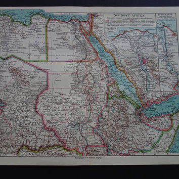 Old German map of Northeast Africa 1926 original vintage print about Egypt Sudan Ethiopia Libya Northeastern Horn antique maps 24x30c 9x12""