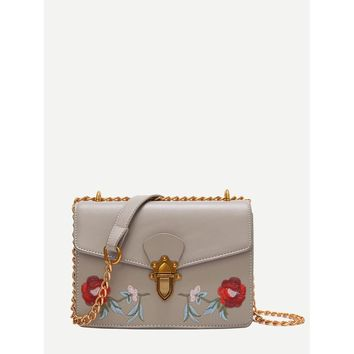 Rose Embroidered Push Lock Chain Bag