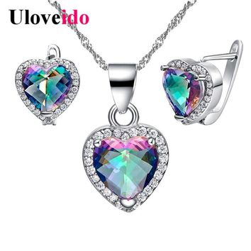 Uloveido Wedding Decorations Heart Bridal Jewelry Sets Silver Vintage Jewelry Set Jewelry for Women Necklace Earrings T481NR