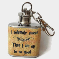 Stainless Steel Hip Flask - I solemnly swear that I am up to no good - Harry Potter marauders map -4oz 6oz 2oz 1oz