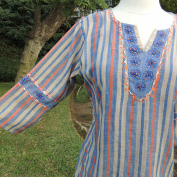 10 DOLLAR SALE TODAY Vintage Striped India Floral Emroidered Top Blouse. See Details Below