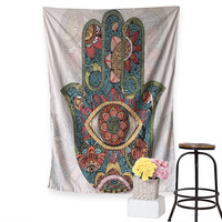 Hamsa Hand Tapestry Indian Mandala Floral Wall Hanging Tapestry for Home Psychedelic Bedspread 4 Sizes