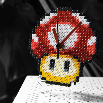 Super Mario Bros Power Up Red Mushroom Clock. Desk/Wall Handmade Clock Display Included