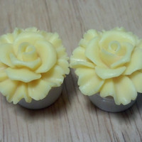 "Buy 2 Pairs/Get 3rd FREE! SUNNY YELLOW Pastel Large Rose Flower Plugs/Gauges 1/2"", 9/16"", 5/8"", 11/16"", 3/4"", 7/8"", 1"" Available"