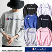 Retro Vintage Champion Logo Unisex Lover's Loose  Sweater Pullover Hoodies