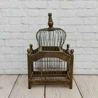 Vintage Small Rustic Wood Birdcage