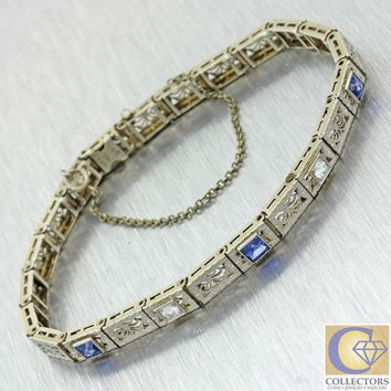 1920s Antique Art Deco 14k White Gold Filigree Diamond Sapphire Tennis Bracelet