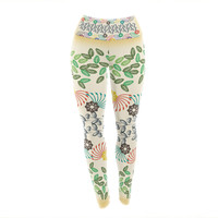 "Famenxt ""Flowers & Leaves Pattern"" Abstract Geometric Yoga Leggings"