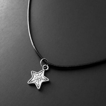 Star Necklace, 90s Jewelry, Star Choker, Punk Jewelry, Silver Charm, Grunge Jewelry, Tumblr Jewelry, Alternative Jewelry