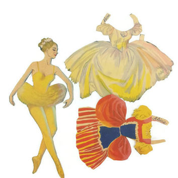 Original Vintage Ballet Paper Doll, Ephemera, Vintage Home Decor, Vintage Art, Little Girls Room, Nursery Decor, Yellow