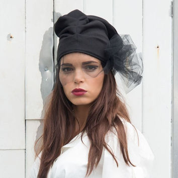 Extravagant Black Hat / Draped Urban Hat / Hat with Black Veil by METAMORPHOZA