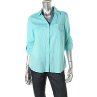 Style & Co. Womens Petites Contrast Trim Collared Button-Down Top