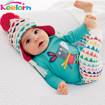 Keelorn 2017 Autumn Baby Girls Clothes Infant Suit Cartoon Cotton Long Sleeved + Pants 2pcs Baby Boys Clothing Set Free shipping