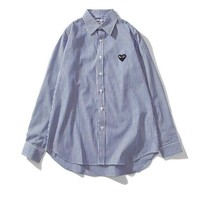 Comme des Garcons hot seller for casual couples with fashionable stripes and long sleeves Blue
