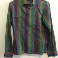 1970s Long Sleeve Shirt with Collar, buttoned up along the side.