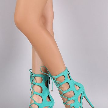 Breckelle Suede Caged Cutout Corset Lace Up Heel