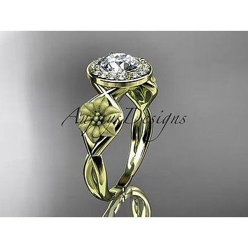 Unique 14kt yellow gold diamond flower wedding ring, engagement ring ADLR219