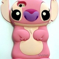 Pink Disney 3d Stitch Movable Ear Flip Hard Case Cover for Iphone 4/4s + 1 Screen Protector