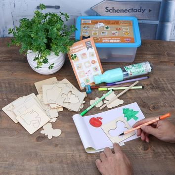Children Kids Drawing Writing Board Toy Wooden Watercolor Pen DIY Painting Template Suits Puzzle Set Kids Gift Toy