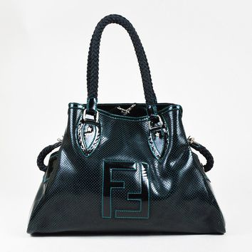 "Fendi Black Blue Patent Leather Perforated Medium ""Bag de Jour"" Tote"