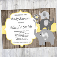 Neutral Baby Shower Invitation Rustic Elephant Baby Shower Invites Printable Baby Shower Invitation Yellow - FREE Thank You card (87W)