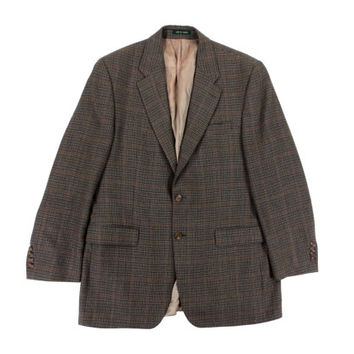 SALE Vintage Houndstooth Sport Coat - Blazer Jacket Wool Ralph Lauren Brown Preppy Ivy League Menswear - Men's Size 42 Short Large Lrg L