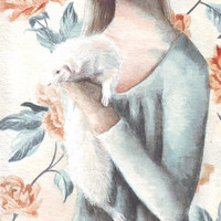 HM067 Original watercolor art A Woman, her Ferret and Wall paper painting by Helga McLeod