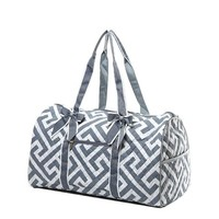 Quilted Maze Print Large Duffle Bag - 20-in (Grey)