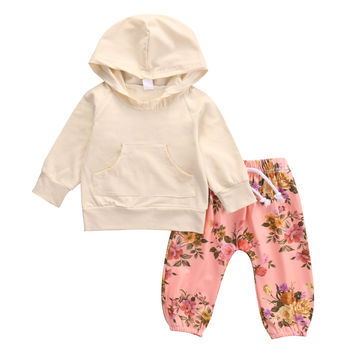 Autumn Spring cute Toddler Baby Girls Long Sleeve pocket front T-shirt+floral Pants Outfits Hooded 2PCS Clothes Set