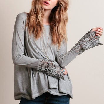 Drizzle Top In Gray By Black Swan