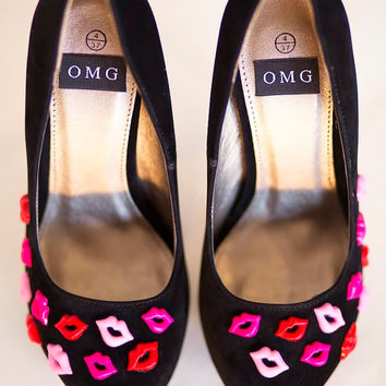 High Heel Shoes - Red And Pink Lip Design - Hand Painted Heels Customised By OMG SHOES